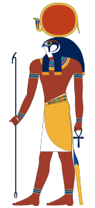Ra-Horakhty - that is, Horus channeling the sun god, Ra. Jeff Dahl, CC 4.0 BY SA.