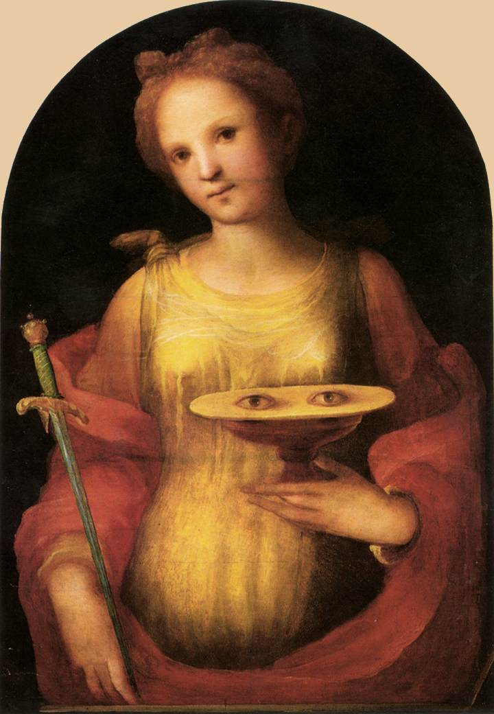 Saint Lucy is usually portrayed with her eyes on a platter. She is the patron saint of blind people.